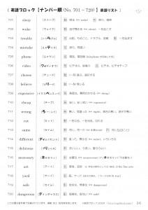 英語ブロック 20語ずつ英単語帳 no.701~800