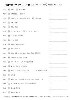 英語ブロック 20語ずつ英単語テスト No.701~800